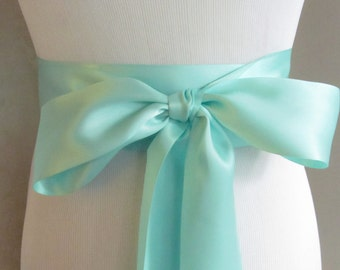 Aqua Satin Ribbon Sash / Ribbon Sash / Satin Bridal Sash /  bridesmaid Sash /