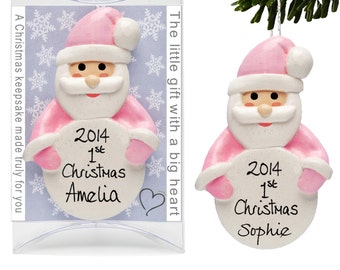 1st Christmas Santa Decorations, Baby Girl's First  Tree bauble, Baby Pink  Father Xmas ornament by Truly for You