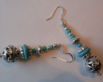 Statement Silver & Turquoise Dangle Earrings  Beaconhillcollect  We Ship Internationally