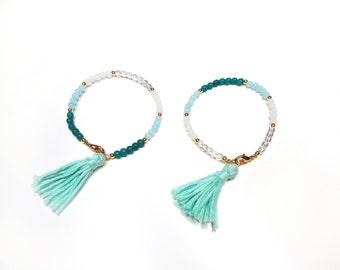 Beaded bracelets in mint and white shades, set of 2 bracelets
