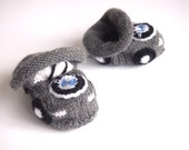 Baby Cars Knitted Booties, Sweet Shoes, Baby Warm Gift, Made To Order