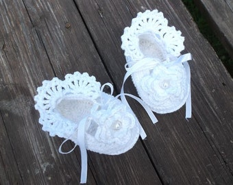 Baby Crochet Shoes, Baby Girl Christening/Blessing Shoes, Baby Gift. MADE TO ORDER