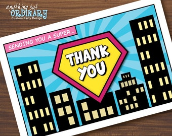 DIY Girls Superhero Thank You Card, Supergirl Folded Card Blank Inside, INSTANT DOWNLOAD, digital printable file