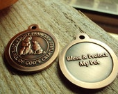 St. Francis Pet ID Tag- Bronze Saint Francis Pendant- Bless & Protect My Pet 32mm Medal Charm Dog Pet Gift (F6)