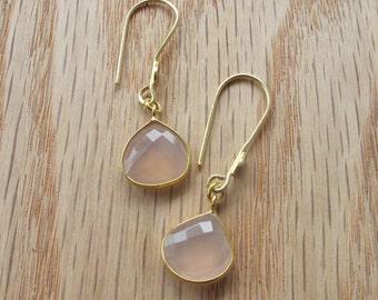 Gold Pink Quartz Earrings- Pink Quartz Earrings- Pink Earrings- Pink Stone Earrings- Gold Stone Earrings- Silver Pink Earrings- Earrings