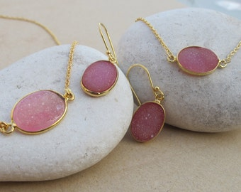 Oval Jewelry Druzy Set- Druzy Earrings Bracelet Necklace Set- Simple Pink Druzy Jewelry- Pink Gemstone Jewelry Set- Sparkly Stone Jewelry