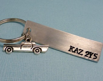 Supernatural Inspired - KAZ 2Y5 - A Hand Stamped Keychain in Aluminum or Copper w/ Impala Charm