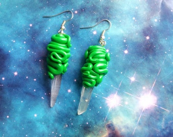 Green tentacle wrap crystal quartz earrings