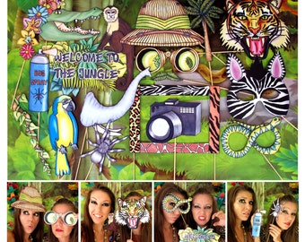 Jungle Explorer photo booth props - perfect for your Safari or Rainforest themed party or a crazy Wild Animal Roar Adventure