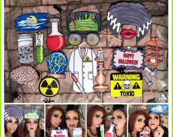 Halloween Frankenstein inspired mad scientist photo booth props - perfect for your Halloween bash or scary Frankenstein's bride themed party