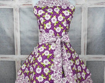 Cute sassy fun retro full womens apron white daisies on violet/purple 2 layers handmade one size fits most