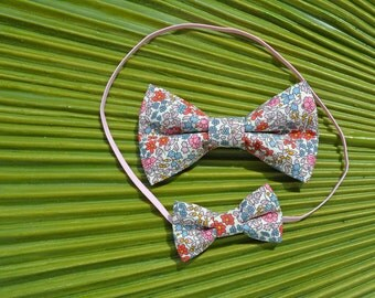 Liberty of London Mommy and Me Set in Pink // Big Sister/Little Sister Set // Newborn/Baby/Toddler Bow Tie Headband  // Photo Prop