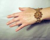 Crochet bracelet with amber and blue beadwork | fashion jewelry | women accessories | jewelry bracelets | beadwork