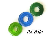 Fused glass donut pendants - jewelry making supplies - set of 3 - on sale