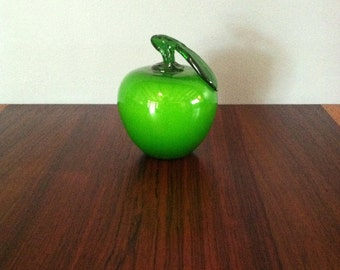 Vintage Murano Italy Green Glass Apple