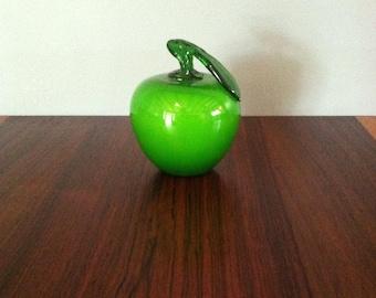 Vintage Murano Italy Green Glass Apple