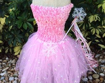Pink Tutu Dress, Frozen Dress, Princess Frozen Party Dress, Snowflake Tutu, Frozen Tutu, Elsa Tutu, Disney Frozen Party Favors, Pink Tutu