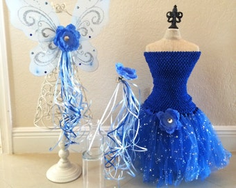 Blue Fairy Costume, Blue Wings, Tinkerbell Fairy Costume, Tinkerbell Wings, Tinkerbell Fairies, Fairy Wings, Blue tutu, Fairy Party Favors
