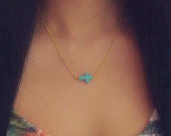 Turquoise Sideways Cross Necklace Gold Chain Tiny Cross Simple Jewelry