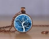 Blue Tree of Life Necklace or Keychain Jewelry - Choose Finish & Length - Bronze Copper Gold Gunmetal Silver Tree of Life Jewelry 25mm