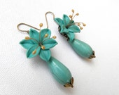 Turquoise Earrings Flower Earrings Dangle Earrings Romantic Jewelry Turquoise Jewelry Handmade Earrings Gift For Her Lily Jewelry