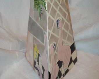Ricki or Riki Moss 1990's Art Deco Triangular Ceramic Flamingo Vase, Signed and Rare