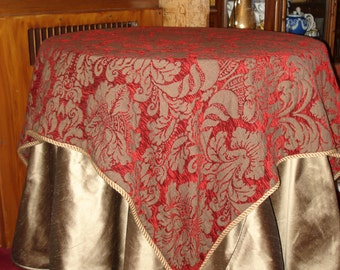 Anichini Square Wool Chenille Throw or Tablecloth with Tassels