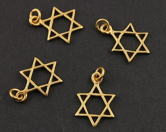 24K Gold Vermeil Over Sterling Silver Openwork Thick Star of David Charm Six Point Jewish Star, Spiritual Religious Component, (VM/CH2/CR11)
