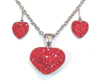 Red Crystal Hearts Necklace & Earrings Set In Sterling Silver, Handmade Jewelry By NorthCoastCottage Jewelry Design And Vintage Treasures