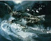 Ocean Art Print Humpback Whales Art  Ocean Lovers Gift