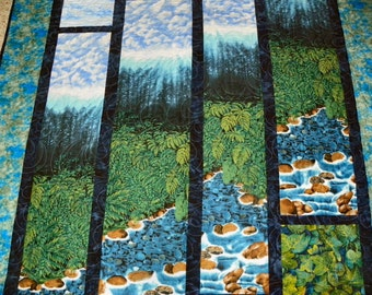 Mountain Stream Wall Hanging or Lap Quilt