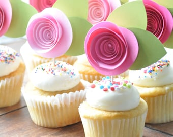 Pink Cupcake topper- Paper flower cupcake topper- baby girl shower cupcake topper