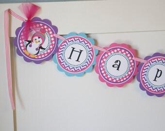 Penguin Birthday Banner, Pink Aqua Purple Penguin Banner, Winter Birthday