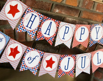 4th of July Printable Banner, Patriotic Red White & Blue Banner
