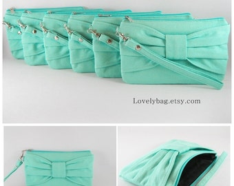SUPER SALE - Set of 5 Mint Bow Clutches - Bridal Clutches, Bridesmaid Wristlet, Wedding Gift, Cosmetic Bag, Zipper Pouch - Made To Order