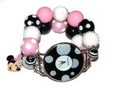Mouse Inspired Beaded Watch, Light Pink Beaded  Mouse Bracelet Watch, Mouse Jewelry, Mouse Inspired Chunky Watch by BeadsnTime