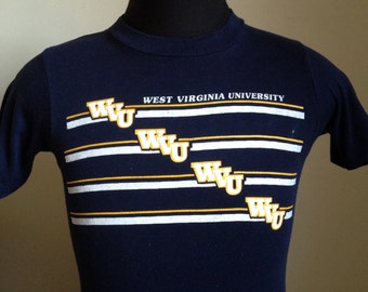 80s Vintage WVU West Virginia University Mountaineers T-Shirt - SMALL