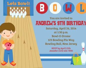 Bowling Invitation - Personalized Custom Bowling Birthday Invitation - Print Your Own