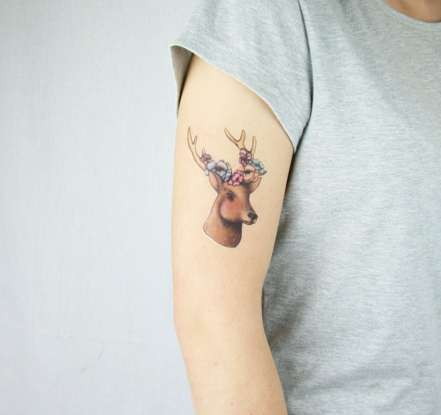 Deer with floral antlers woodland animal temporary tattoo for Deer antlers tattoo