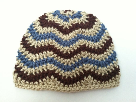 Crocheting Zig Zag Pattern : Crochet Pattern: Chevron Hat - Zig Zag Hat - newborn through adult ...