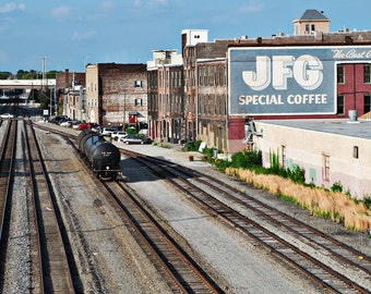 Railroad Tracks Vintage Knoxville TN Tennessee Rail Train Americana architecture Old City JFG Sign Fine Art Photo  Print