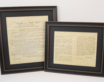 Framed Bill of Rights and Lincoln's Gettysburg Address Set with Black Matte. Free Shipping!