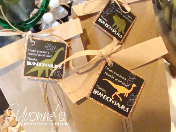 Dinosaur Favor/Gift Tags / Thank You Tags with Raffia Tie / Gift ...