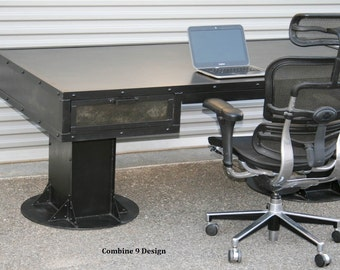 Industrial Desk With Drawers. Modern Industrial Table. Steel Desk With  Storage. Rustic Office