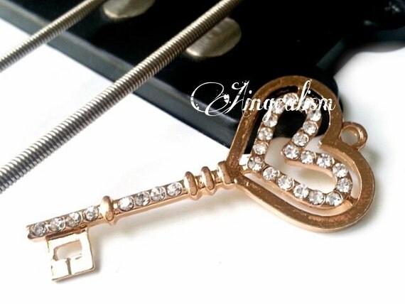 Items similar to Heart Shaped Skeleton Key Charm, Double ...