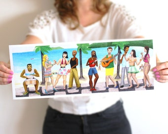 Bossa Nova dance illustration print great music lovers gift as home beach decor of Brazilian dancers drums and guitar drawing for teens