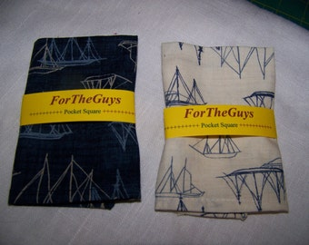 "Men's Pocket Square -  Clipper Ships - Nautical - Hearty Good Wishes by Moda - Cotton Men's - 9"" X 9"""