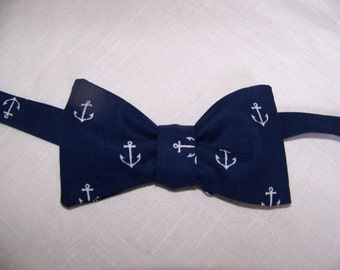 Mens Bowtie - Nautical Bow tie - Navy Wedding Bow Tie - Anchors Out to Sea by Sarah Jane  - Nautical -