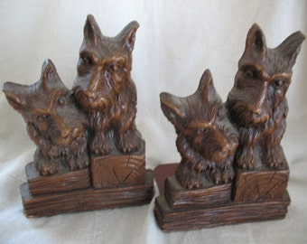 Scottish Terrier Wooden Bookends