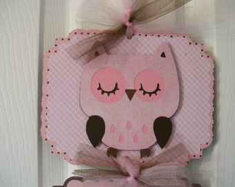 It's a Girl Door Banner- Owl Baby Girl Banner - Girl Baby Gift- Girl Baby Shower Decoration - 3 cards